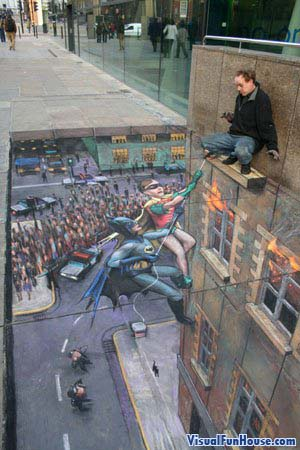 3D chalk Batman