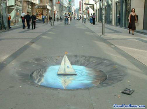 3D chalk sail boat