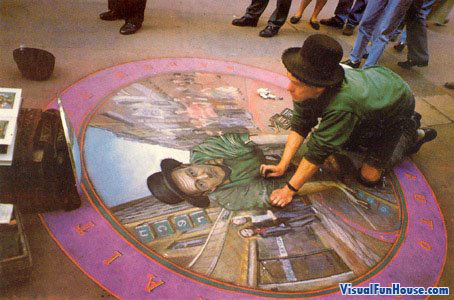 3D chalk self portrait