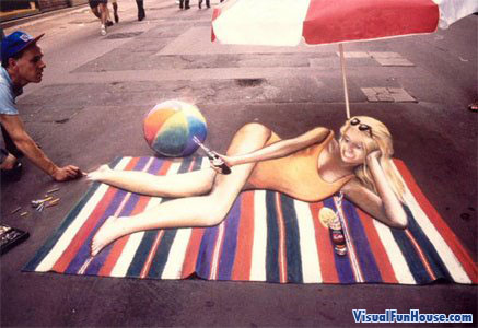 3D chalk sunbathe