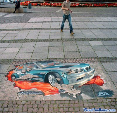 3D Chalk Need for speed car