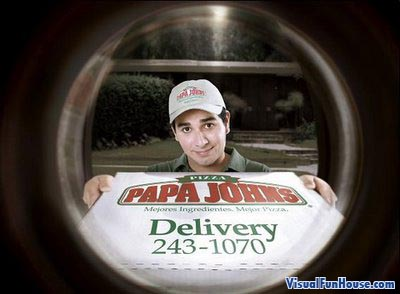 Papa Johns eye hole add