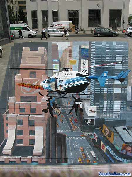3D chalk helicopter