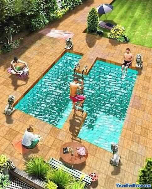 Escher Inspired Pool Optical Illusion