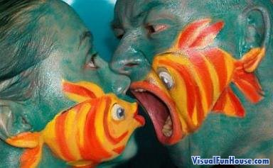 Painted fish food optical illusion