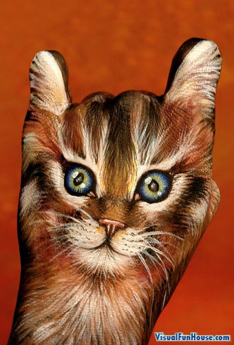 Painted Hand Illusion - Cat