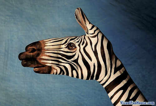 Painted Hand Illusion - Zebra
