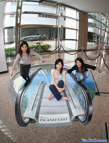 3D Chalk Escalator Optical Illusion