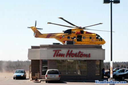Timhortons Helicopter Optical Illusion