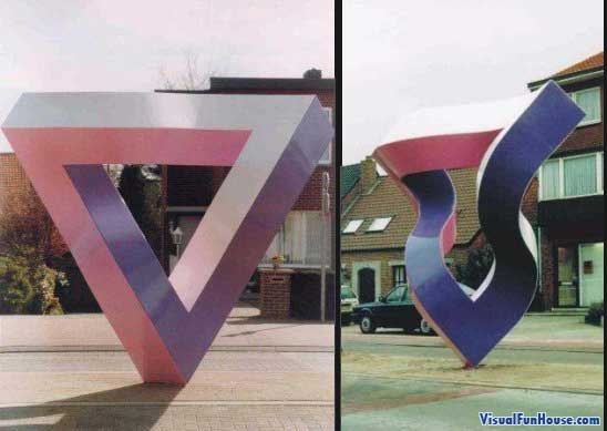 Impossible Triangle Statue Optical Illusion
