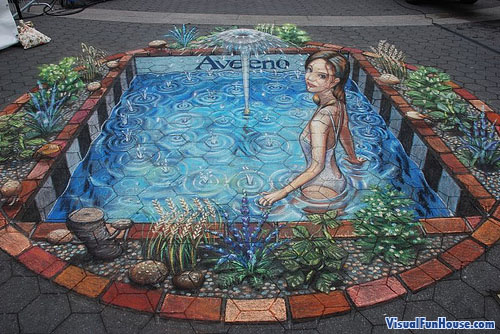 Julian Beavers Fountain of Youth chalk drawing