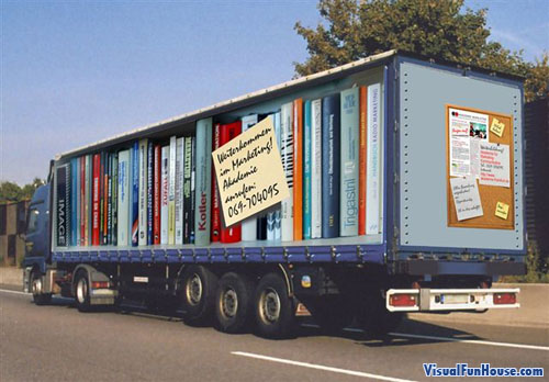 Painted Truck Books shelve Optical Illusion
