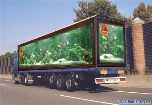 Painted Truck Fish Tank Optical Illusion