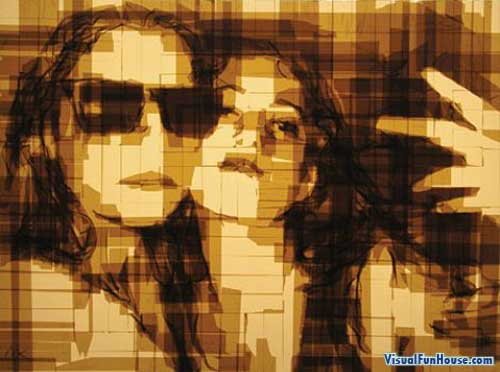 Two girls taking a self portrait - packing tape art