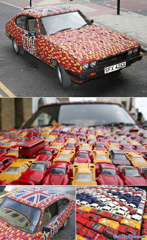 Car made of hot Wheel matchbox cars