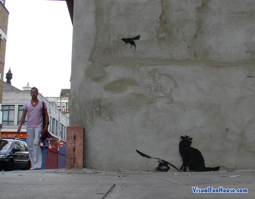 Cat and Flying Mouse Street Art