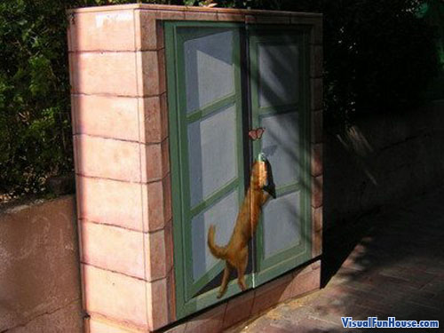 Cat in window painted onto Electricl Box illusion
