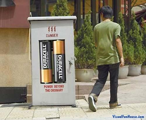 Duracell Battery powered electrical box randomly situated through major citys.