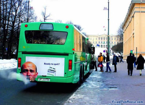 Bus Exhaust No smoking ad