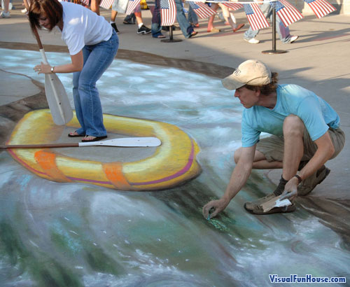 Beever painting rapids for raft chalk art