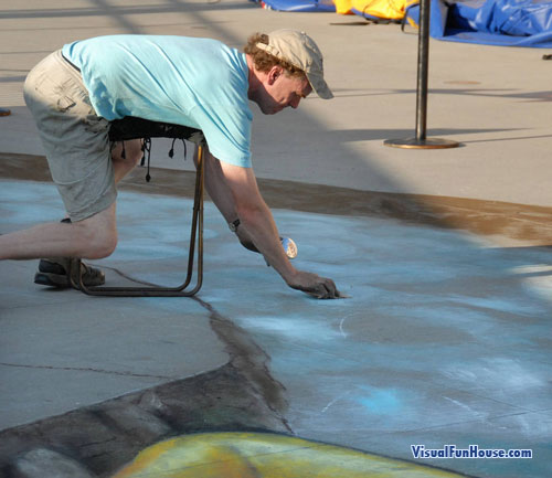 Beever Painting 3d Chalk Art Raft