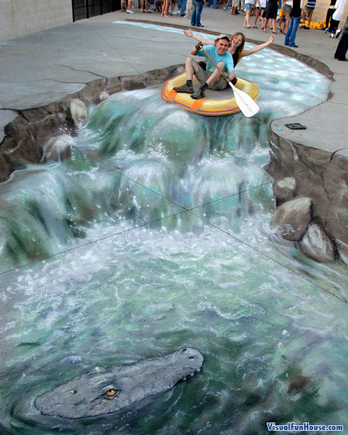 Julian Beever Riding his 3d Chalk Raft