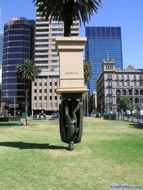 Upside down version Charles La Trobe made into  a planter, This statue is in Melbourne Australia