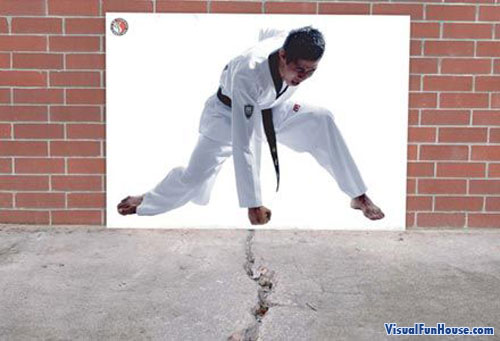 Martial arts cracked pavement ad