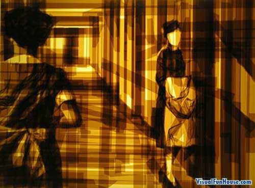 Nurses in a hallway made of translucent packing tape
