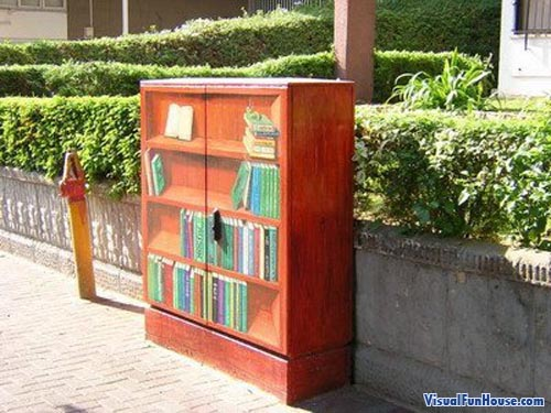Book Shelve Painted onto an Electrical Box