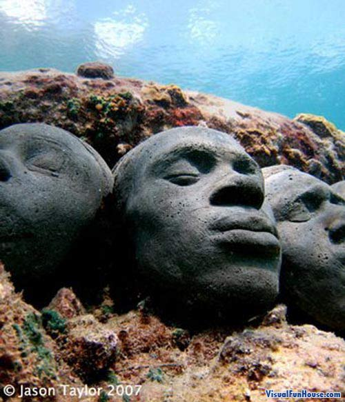 underwater art faces