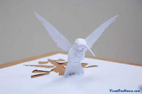 3D paper art humming bird