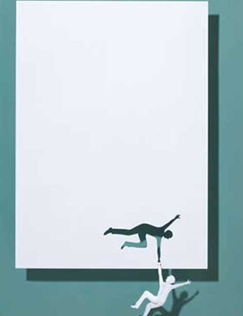 Hanging man paper art
