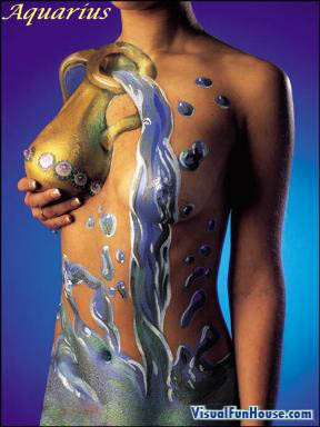 Aquarius nude astrological body art