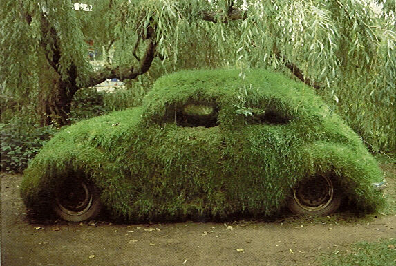 Grass covered Volkswagen Beetle is the ultimate camouflage machine.