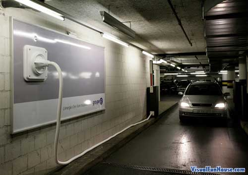 Group E billboard powers an underground parking gate