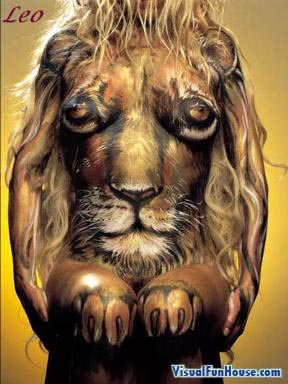 Leo lion body art