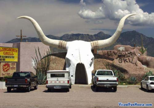 Giant Skull greets visitors to the Longhorn Grill in Tuscon Arizona