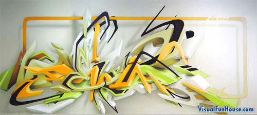 3D graffiti painting artwork