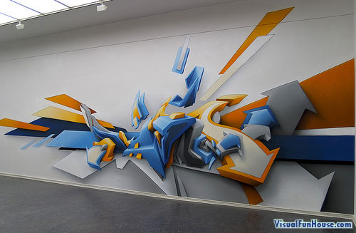 3D arrow graffiti feature art work