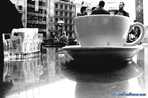 Hanging out inside of a giant coffee cup