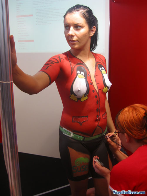 Nude girl with  body paint clothing for a Linux computer confrence