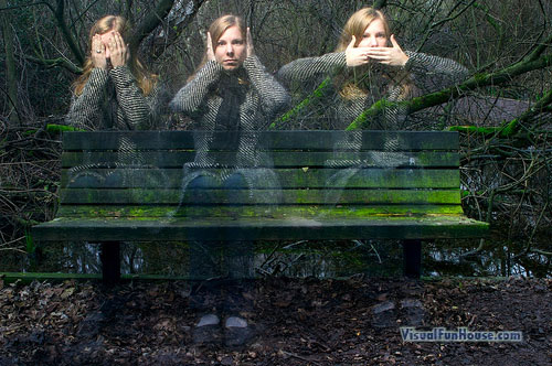 Three ghostly girls representing the three monkeys