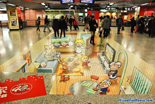 Trompe d'oeil Ad in Causeway Bay Station