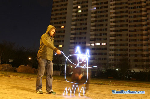 Monster like Creature Light Graffiti Optical Illusion