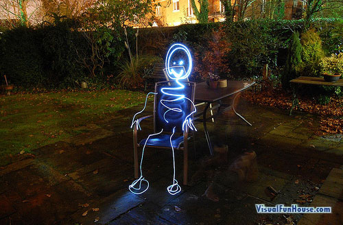 Stick man Light Graffiti Long Exposure Optical Illusion