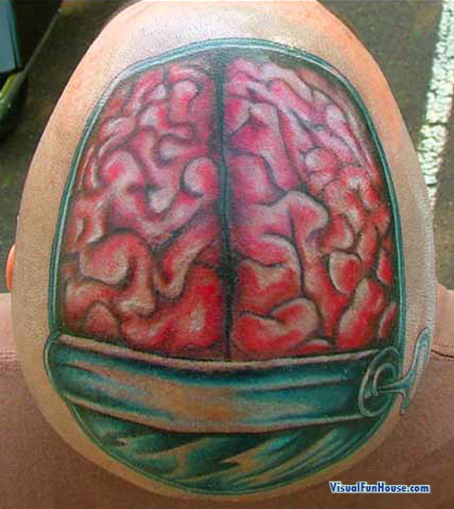 zombies would be all over this guy! Brain Tattoo Optical Illusion