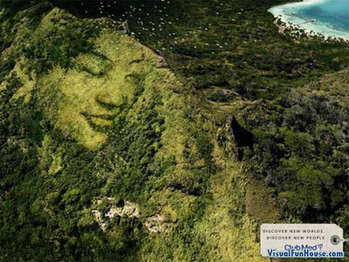 Club Med advertisement - Faces in the montain