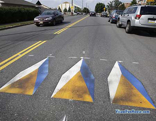 Optical Illusion Speed bumps set out to slow down motorists