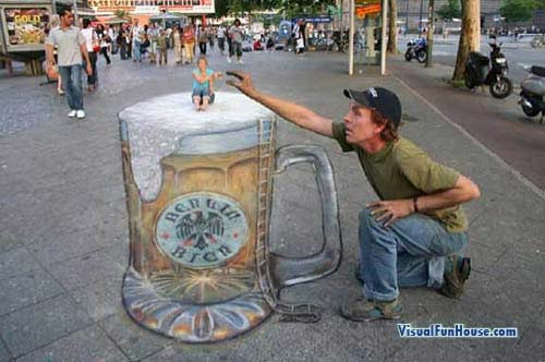 3D Beer by Julian Beever